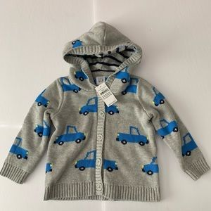 NWT Baby Gap Car Button Up Knit Sweater 12-18 Mths